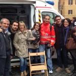 La redazione del Grs impegnata nella diretta in piazza Montecitorio